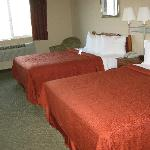 Two comfortable queen beds with four pillows