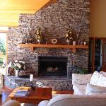 The lovely stone fireplace in the main lounge