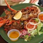 Grilled lobster at Pinel Island