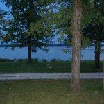 campsite next to lake