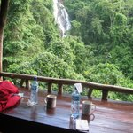 Where we ate breakfast and Lunch.. and the view of the waterfall!