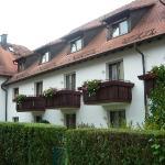Our room is the 1st balcony - (far left)Hotel Hirschengarten