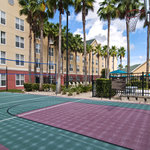 Take a break from work and pick up a quick game of basketball or volleyball on our Sport Court