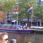 View of canal from the Hard Rock Cafe amsterdam.
