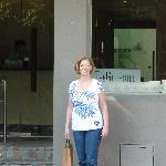 Jo-Ann in front of the hotel