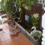 My grandaughter on the patio area