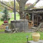 old fashioned wood burning hot tub