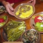 Dinner in Yerevan.  The top dish is cow's brains fried with eggs.  Delicious!  My other dinner c