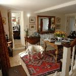 Charming interior and adorable Labrador