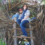 Chloe and I in a giant nest at the Spriit Garden, Big Sur
