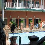 view of my room door across the courtyard/pool