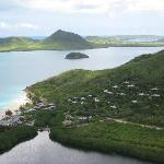 View of the resort from the helicopter tour.  Notice how private the beach is with no other reso