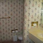 Old wallpapered bathroom!