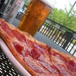 Beer and a slice on our patio