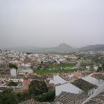The climb to the top offers a wide view of the city and the landscape