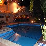 Villa del Sueno main hotel by night