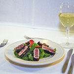 Sesame Tuna over Spinach - appetizer