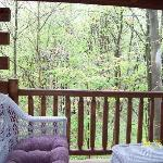 the back porch with the hot tub