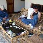 I am teaching Brother Namgyal, and my Sangyee how to play Skip O. It was fun and when we played