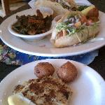 The wife's fish tacos and crab cake