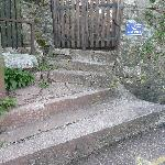 Awkward steps and gate to car park
