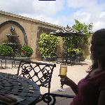 The sparkling wine toast in their outside dining area