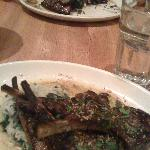 Grilled lamb chops and hanger steak (background)