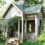A cozy spot to enjoy the backyard gardens!