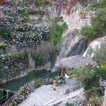 Cascada natural de agua caliente, natural, rodeada de flores