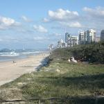 View of the beach  from the Spit walk, looking south and showing the buildings of Main Beach and