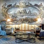 Wall murals are hand-painted
