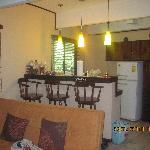 Villa living room, kitchenette
