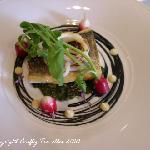 Sea bass, squid, squid ink, radish and nettle salsa