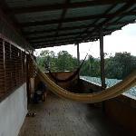 terrasse de chambre au dessus de la reception