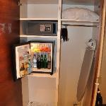 Closset, minibar and safe.