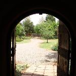 A view from the reception out to the garden entrance.