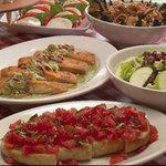 Salmon, Bruschetta, Apple Gorg Salad