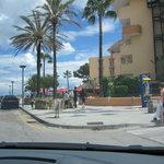 Hotel street, parking area, beach entrance