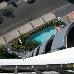 Looking down at the pool