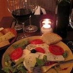 The classics- Mozarella, panne durro, tomato and Chianti