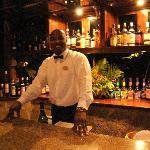 Titus serving up evening cocktails in the Bamboo Lounge