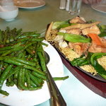 Spicy green beans, chow mein