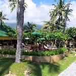 Pool & restaurant amid gardens
