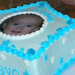 A 1st birthday cake for my son with a smasher cake! I was very happy with how the picture came o