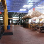 Tiki bar, Arcade straight ahead, resturant/food on left, water park on right