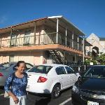 Two-storey motel with parking in front