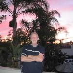 My hubby on our balcony at sunset
