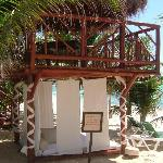 Our own palapa bed underneath our terrace.