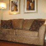 Living room has a hide-a-way sofa bed