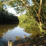 Macal River canoe dock and swimming area